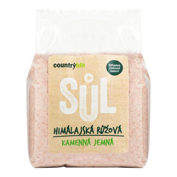 Obrázek Sůl himálajská růžová jemná 1 kg COUNTRYLIFE