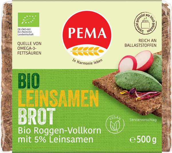 Obrázek Celozrnný žitný chléb se lněným semínkem 500 g PEMA