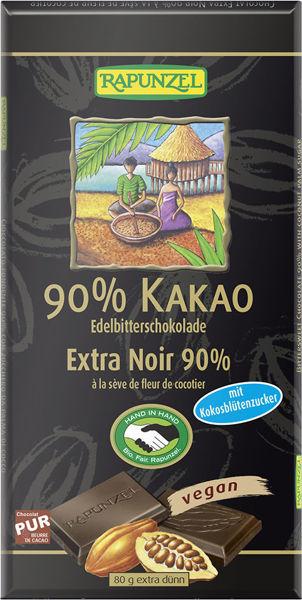Obrázek Hořká čokoláda 90% s kokosovým cukrem 80 g RAPUNZEL
