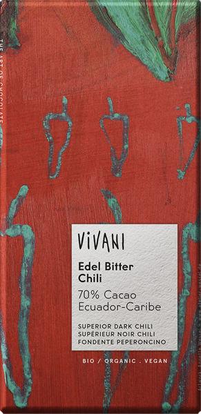 Obrázek Hořká čokoláda chilli 100 g VIVANI