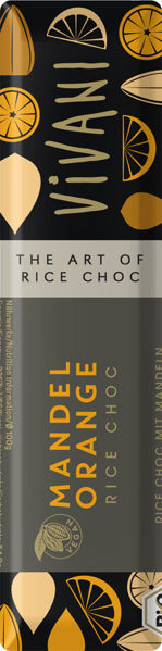 Obrázek Rýžová čokoláda s mandlemi a pomerančem 35 g VIVANI