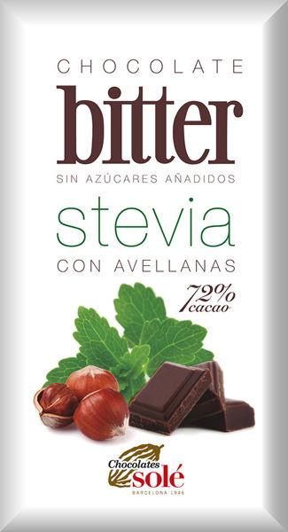 Obrázek Hořká čokoláda s oříšky a stévií 100 g SOLÉ