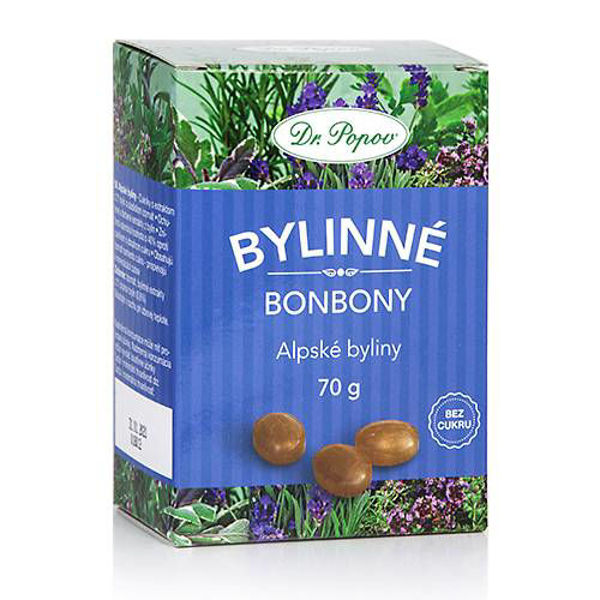 Obrázek Bonbony Alpské byliny, 70 g DR. POPOV
