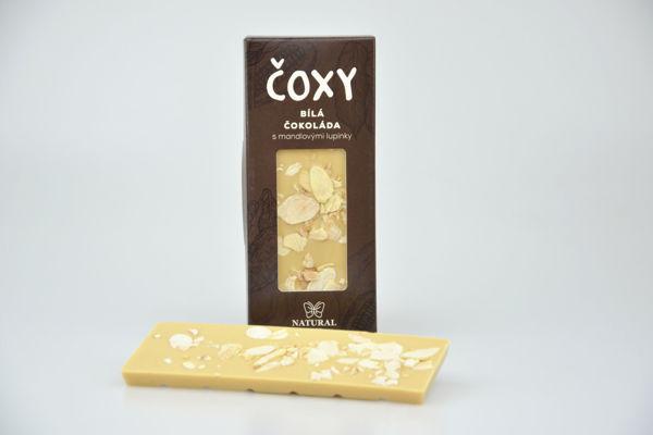 Obrázek Čoxy - bílá čokoláda s mandl. lupínky 50 g NATURAL