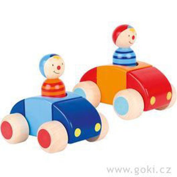 Obrázek Dřevěné autíčko pro nejmenší s řidičem a houkačkou Goki