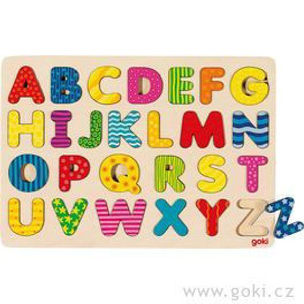 Obrázek Dřevěné puzzle na desce - Abeceda II (Goki)