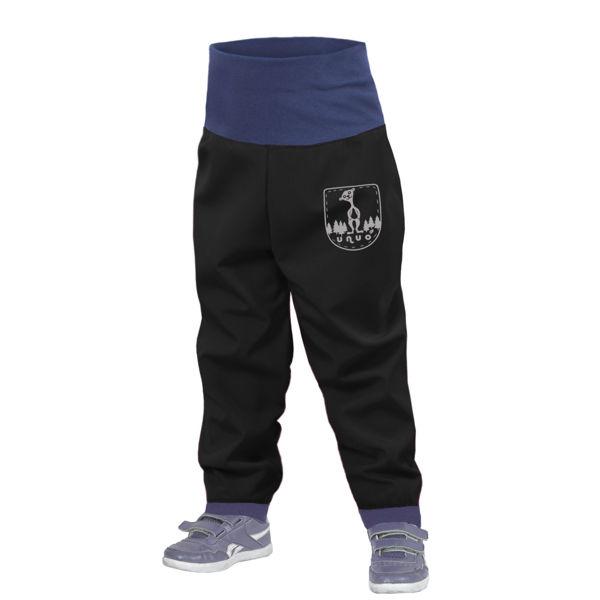Obrázek Batolecí softshellové kalhoty bez zateplení SLIM, Černá Unuo
