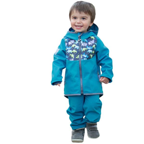 Obrázek Batolecí softshellové kalhoty bez zateplení SLIM, Modrozelená Aqua Unuo