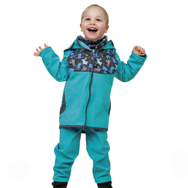 Obrázek Batolecí softshellové kalhoty bez zateplení SLIM, Smaragdová Unuo