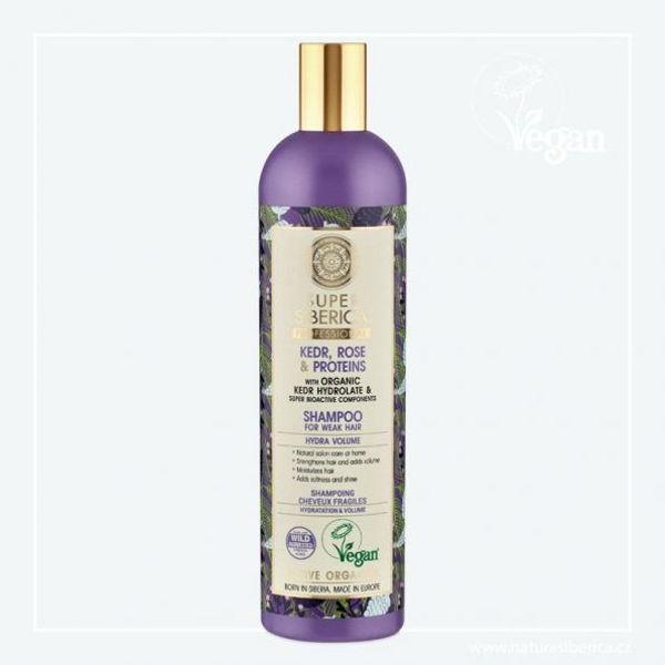 Obrázek Super Siberica Cedr, růže a proteiny šampon pro oslabené vlasy 400 ml NATURA SIBERICA