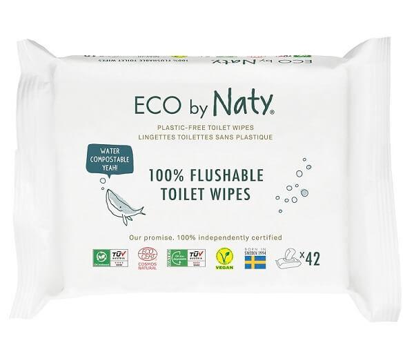 Obrázek ECO vlhčené splachovatelné ubrousky s funkcí toaletního papíru Naty bez vůně