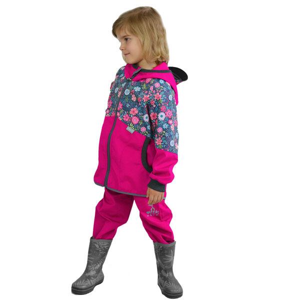Obrázek Dětské softshellové kalhoty bez zateplení, Fuchsiová Unuo
