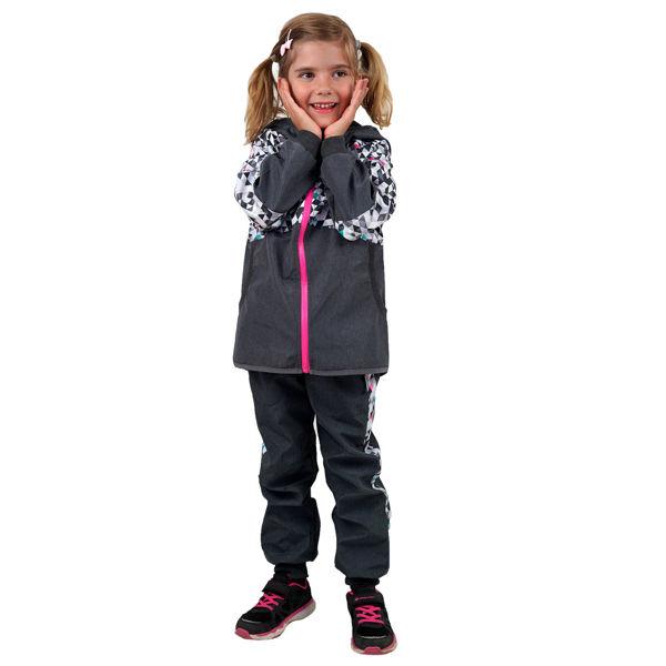 Obrázek Dětské softshellové kalhoty bez zateplení STREET žíhaná antracitová UNUO