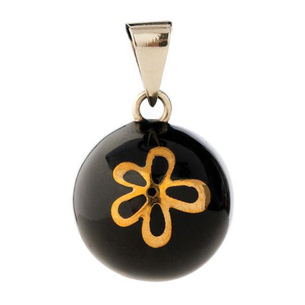 Obrázek Těhotenský šperk Bola black with gold flower BABYLONIA
