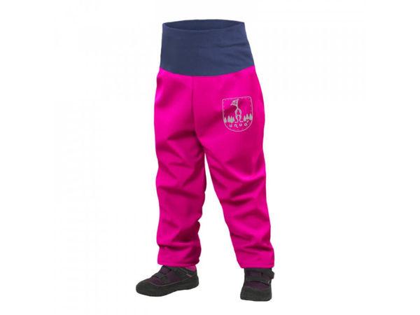Obrázek Batolecí softshellové kalhoty s fleecem SLIM fuchsiová UNUO