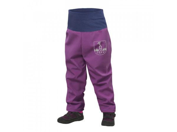 Obrázek Batolecí softshellové kalhoty s fleecem SLIM ostružinová UNUO