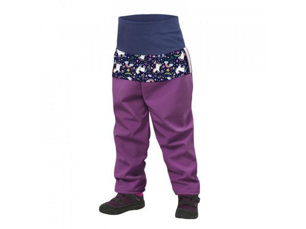 Obrázek Batolecí softshellové kalhoty s fleecem SLIM ostružinová jednorožci UNUO