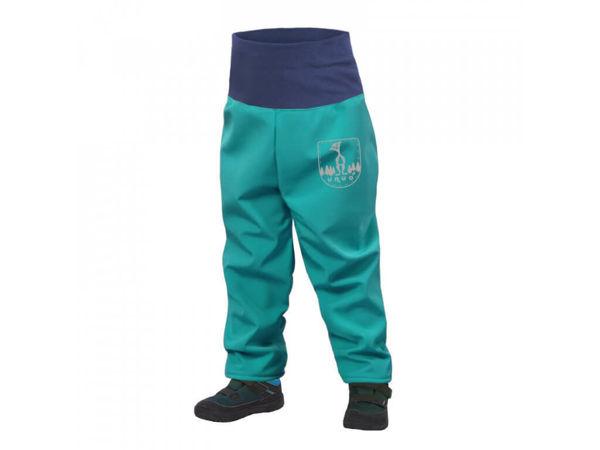 Obrázek Batolecí softshellové kalhoty s fleecem SLIM světle smaragdová UNUO