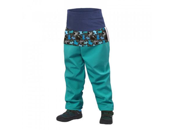 Obrázek Batolecí softshellové kalhoty s fleecem SLIM světle smaragdová pejsci UNUO