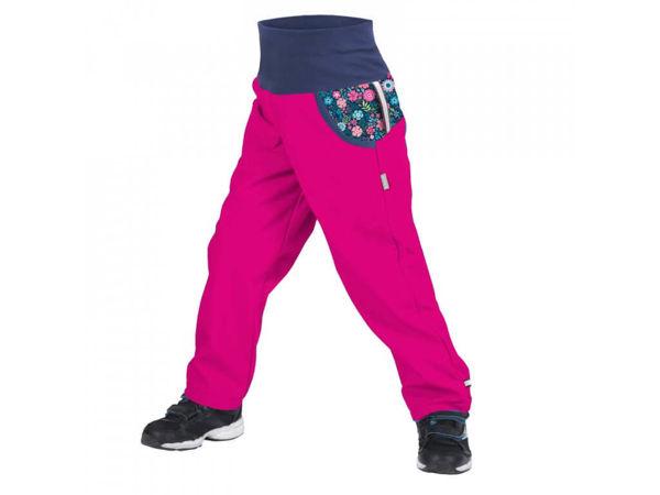 Obrázek Dětské softshellové kalhoty s fleecem fuchsiová květinky UNUO
