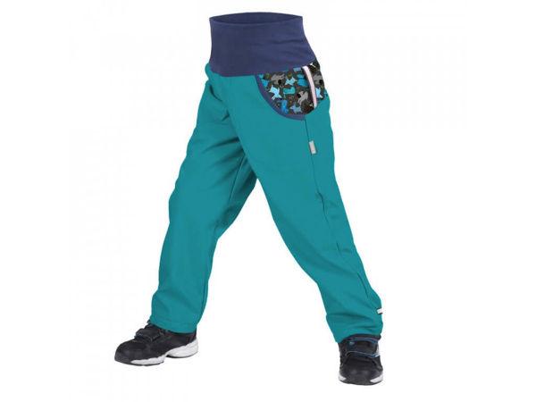 Obrázek Dětské softshellové kalhoty s fleecem světle smaragdová pejsci UNUO
