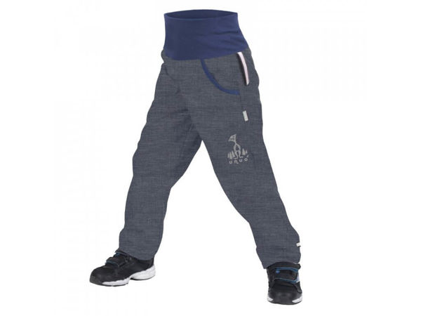 Obrázek Dětské softshellové kalhoty s fleecem antracitová žíhaná UNUO