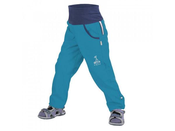 Obrázek Dětské softshellové kalhoty bez zateplení modrozelená aqua UNUO