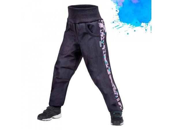 Obrázek Dětské softshellové kalhoty Street s fleecem žíhaná antracitová pro kluky UNUO