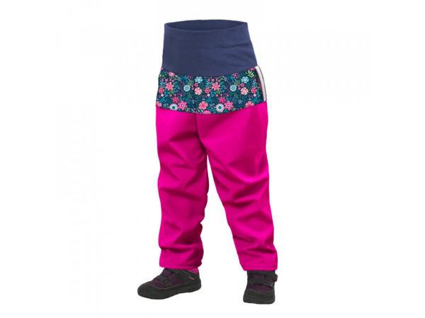 Obrázek Batolecí softshellové kalhoty s fleecem fuchsiová květinky UNUO