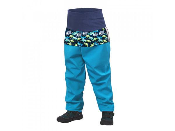 Obrázek Batolecí softshellové kalhoty s fleecem SLIM tyrkysová autíčky UNUO