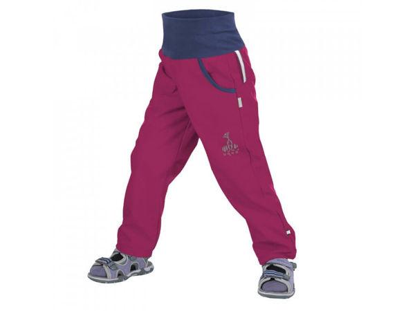 Obrázek Dětské softshellové kalhoty bez zateplení malina UNUO