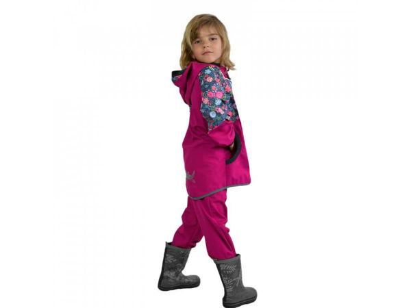 Obrázek Dětské softshellové kalhoty bez zateplení malinová květinky UNUO